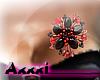 Black red flower brooch