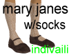 Mary Janes w/socks Brn