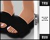 J| K - Black Fur Sandals