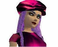 Purple hair/Pink hat