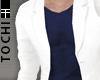 #T Suit-Cz #White+Navy