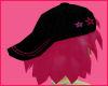 Pink hair Black star hat