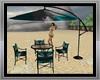 beach table with umbrell