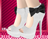 kawaii white black heels