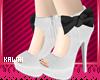 kawaii white black heels