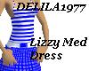 Lizzy Med Dress-Blue/wt