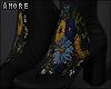 $ Floral Black Booties