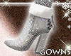 Suede Fur Boots Silver