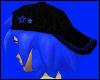 Blue hair Black star hat