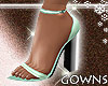 teal box heel sandals