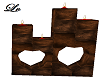Brown Wood Heart Candles