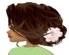 Brown hair with flower