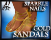 GOLD SANDALS GLIT POLISH
