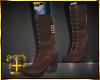 Brown Cross Studs Boots
