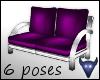 Purple satin 2 seat sofa