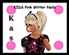 KIDS Pink Glitter Nails