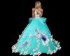 robe bal turquoise fleur