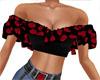 Black Ruffle Roses Top