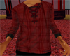 *TRH*RED PLAID LONGE TOP