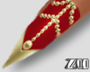 [zuv] red gold nails