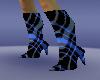 blue panel heel boots