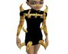 spike dress blk & gold