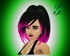 black/neon pink hair