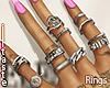 """7-11"" rings in silver"