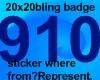 20x20 Bling badge 910