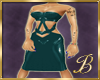 latex dress teal