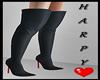 Black Satin Boots