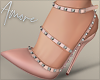 $ Studded Heels Tan