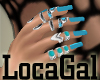 Turquoise nails + rings