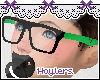 H; Green/Black Glasses