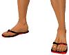 Red & Black Flip Flops