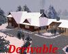 Winter Log House Snowing
