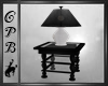 Black End Table & Lamp