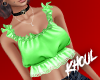 K| Green Frilly Top