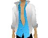white Jacket Blue Shirt