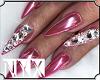 Pink NailsDiamondsRings