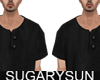 /su/ LINEN SHORTSL BLACK