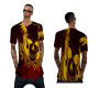 flaming baggy skull tee