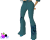 teal wolf flare pants