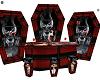 Redblack skull coffin