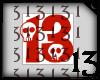 13 Skull Red No BG