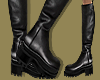 Blk Leather Chunky Boots