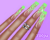 Neon Flame Nails +Rings