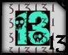 13 Skull Turquoise BlkBG