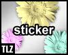 3 pastel flowers