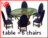 !@ Glass table +6 chairs